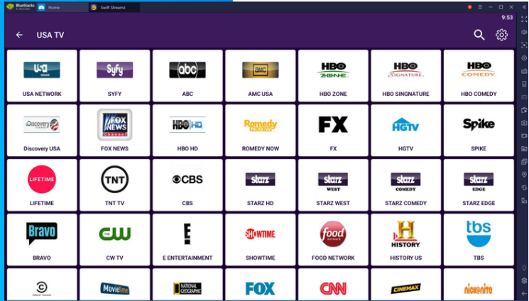 Swift Streamz Live TV Channels for Free on PC
